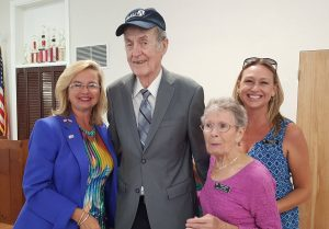 AAUW Flagler members Kimble Medley, Mary Ann Clark and Carmenda Laymon attend a celebration honoring Jim Sheehan, a long time supporter of our branch. June 24, 2016
