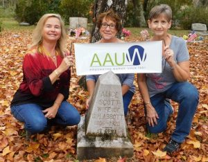 Women's Vote Centennial Chair and Co-Presidents Susie Baird and Theresa Owen located the grave marker for local suffragist Alice Scott Abbott at the Espanola Cemetary in Flagler County.